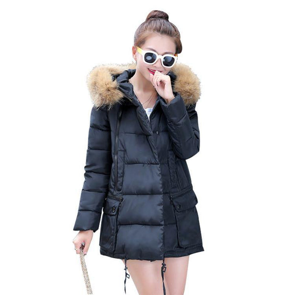 Women's Winter Down thick Coat Parkas Jacket - Fur Collar Double Large Pocket Loose Outwear-Women's Tops-WickyDeez
