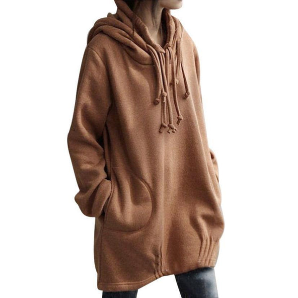 Women's Yellow Autumn / Winter Long Sleeve Hooded Pullover Blouse Shirt Top-Women's Tops-WickyDeez
