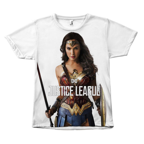 Wonder Woman Justice League Gal Gadot Canvas Size Sublimation Unisex T-Shirt-DC Comics Cosplay-WickyDeez