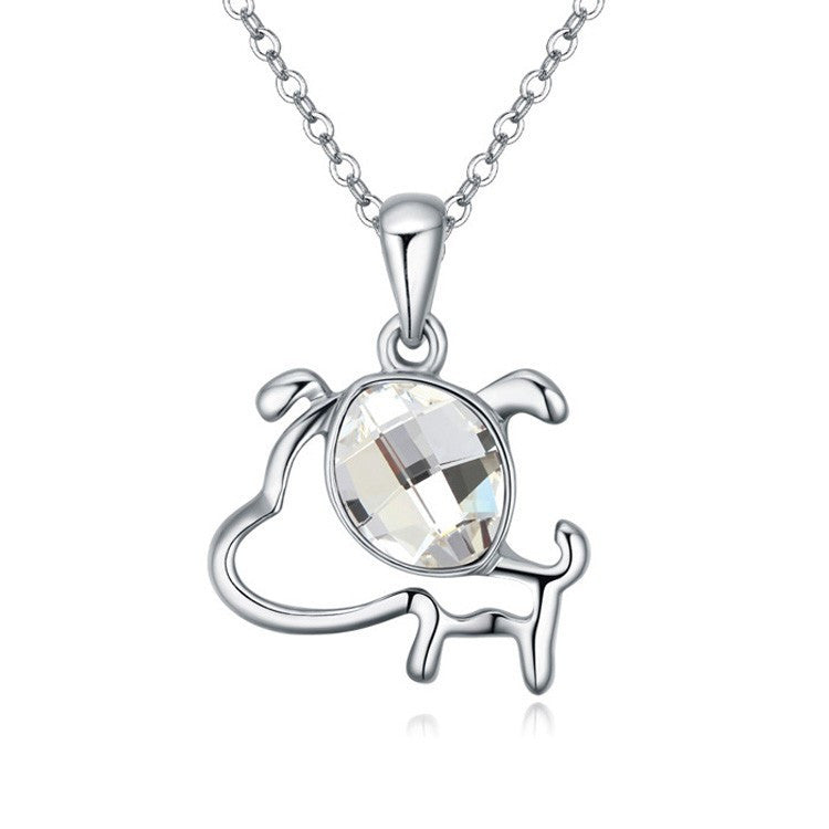 Necklacedog necklacealloy necklacecrystal dog necklace the new design fashion crystal dog pendant necklace 18 aloadofball Image collections