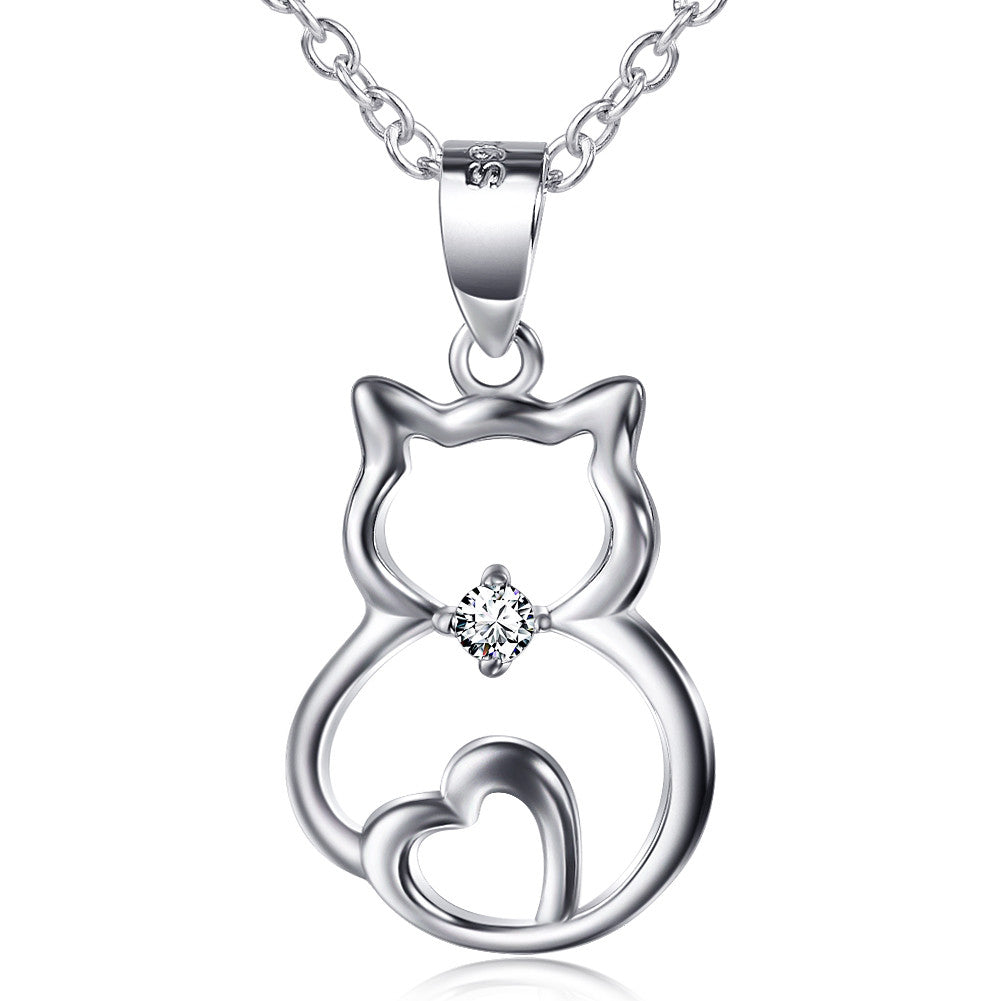 925 sterling silver cute cat pendant necklace 18 the eliza 925 sterling silver cute cat pendant necklace 18 the eliza wills gifts shop mozeypictures Choice Image