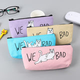 We Bad Cat Pencil Case Canvas With Zipper