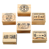Retro Vintage Wooden Rubber Stamps (6pcs/set)