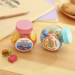 Mini Fruit and Animal Erasers in Bottle