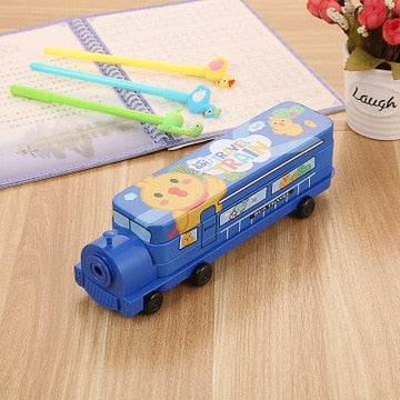 Bus Pencil Case with Built In Sharpener