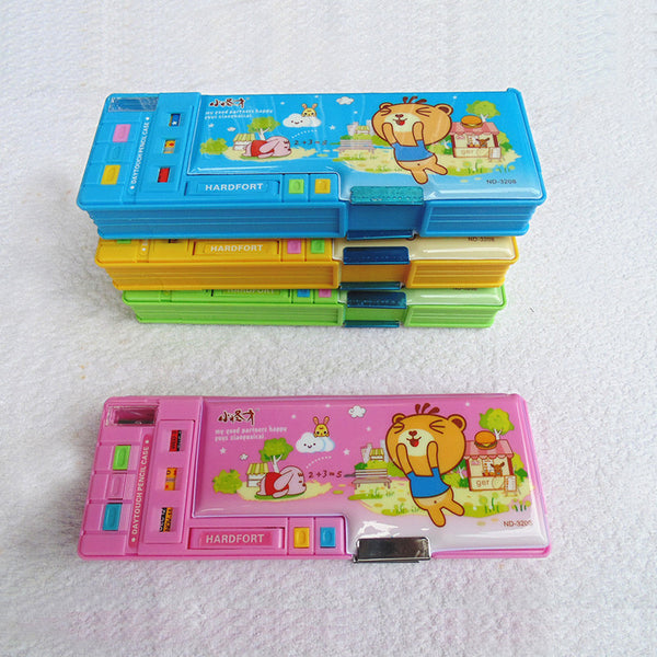 Good Friend Multi-Compartment With Buttons Pencil Box