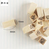 Mini Miss & Mr Wooden Rubber Stamp (12pcs/set)
