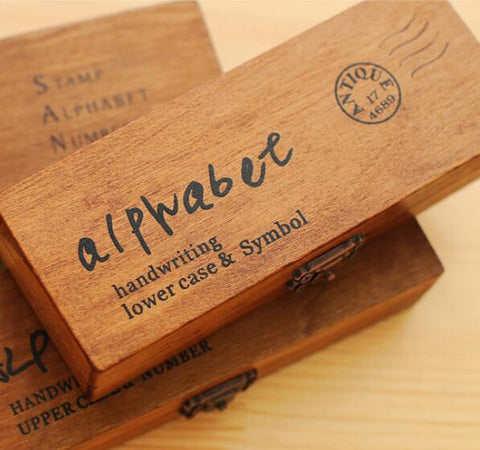 Retro Vintage Alphabet Wooden Rubber Stamp