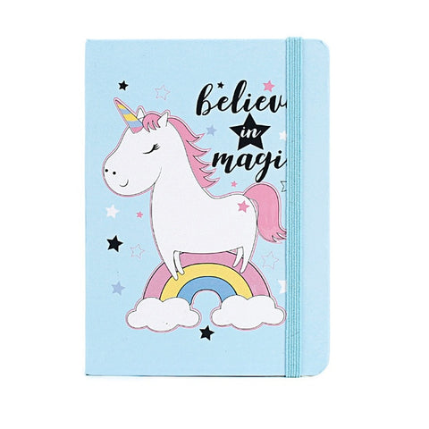 Believe in Magic Light Blue Unicorn Hardcover BUJO
