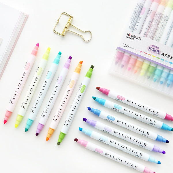 Double Sided Mildliner Highlighter (12 Pcs/set )
