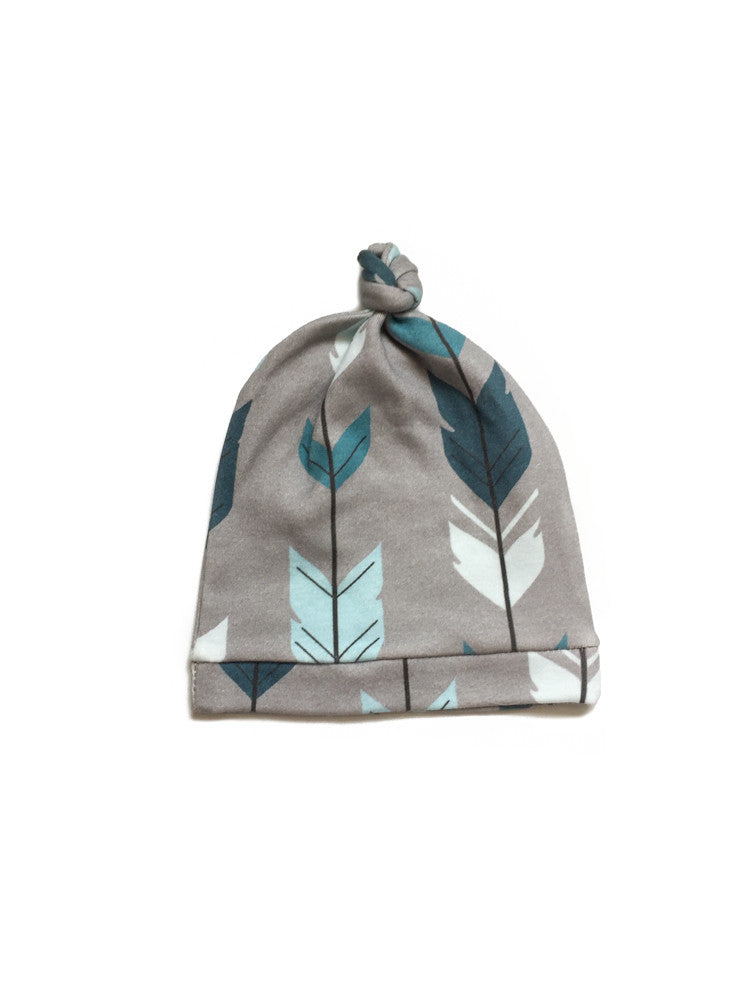 Grey Feather Infant Hat