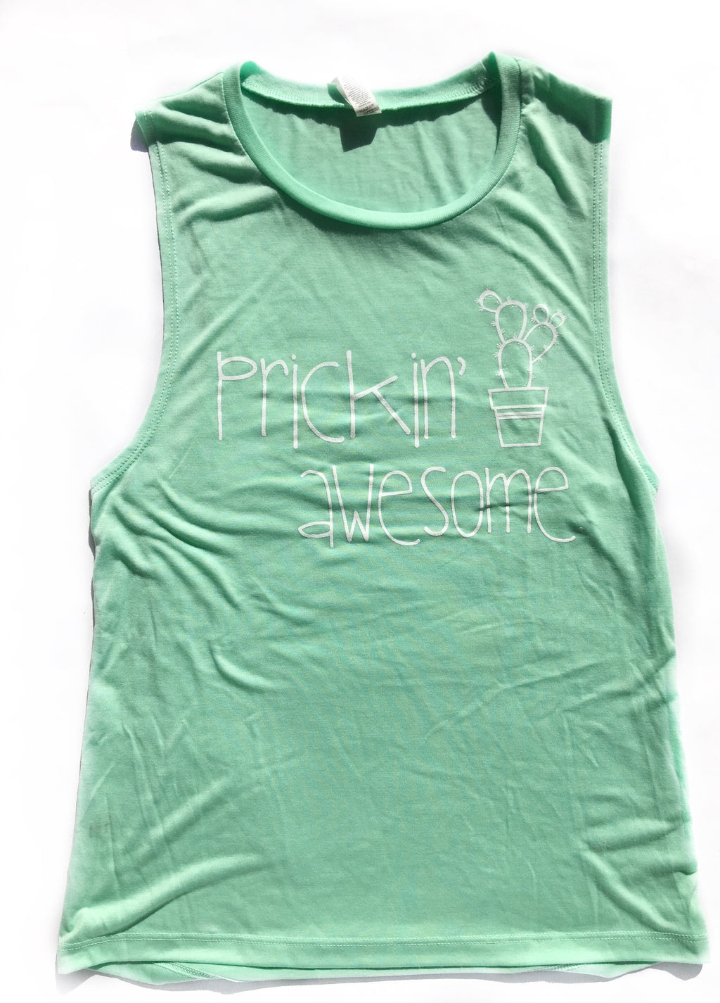 Retired Mint Prickin' Awesome Adult Muscle Tank