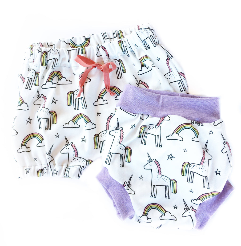 White Unicorn Rainbow Bloomers/Bubble Shorts