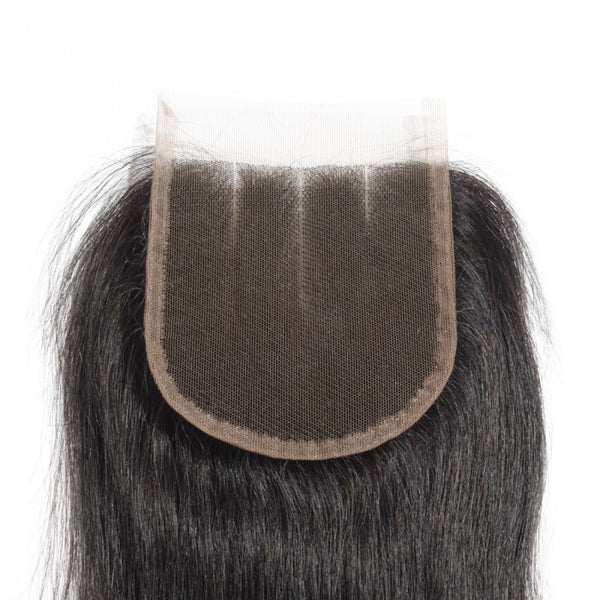 8-20 Inch 4 x 4 Straight Virgin Brazilian 3 Parted Lace Closure #1B Natural Black