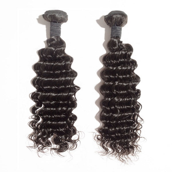Indian Premium Virgin Hair - Deep Curly 10-30 Inches Two Bundles
