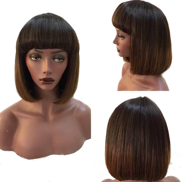 Virgin Remy Hair Customized Bob Wig - Straight 12 Inches (3)