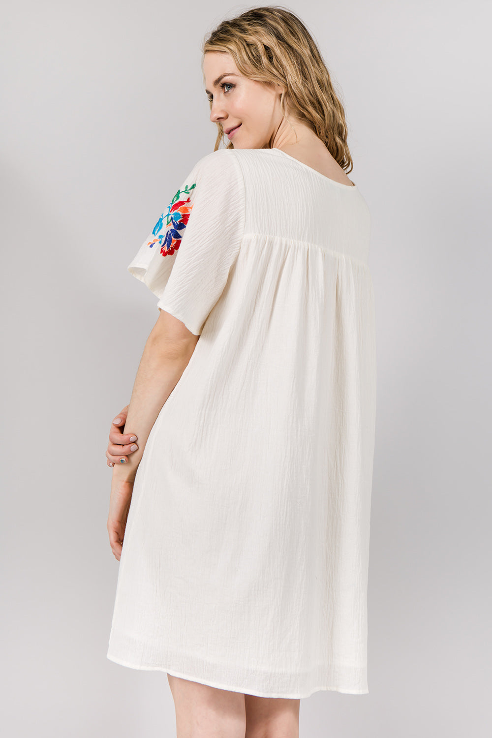 D5065 Embroidery Dress - Cream