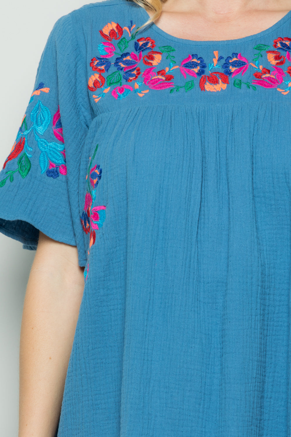 D5065 Embroidery Dress - Blue