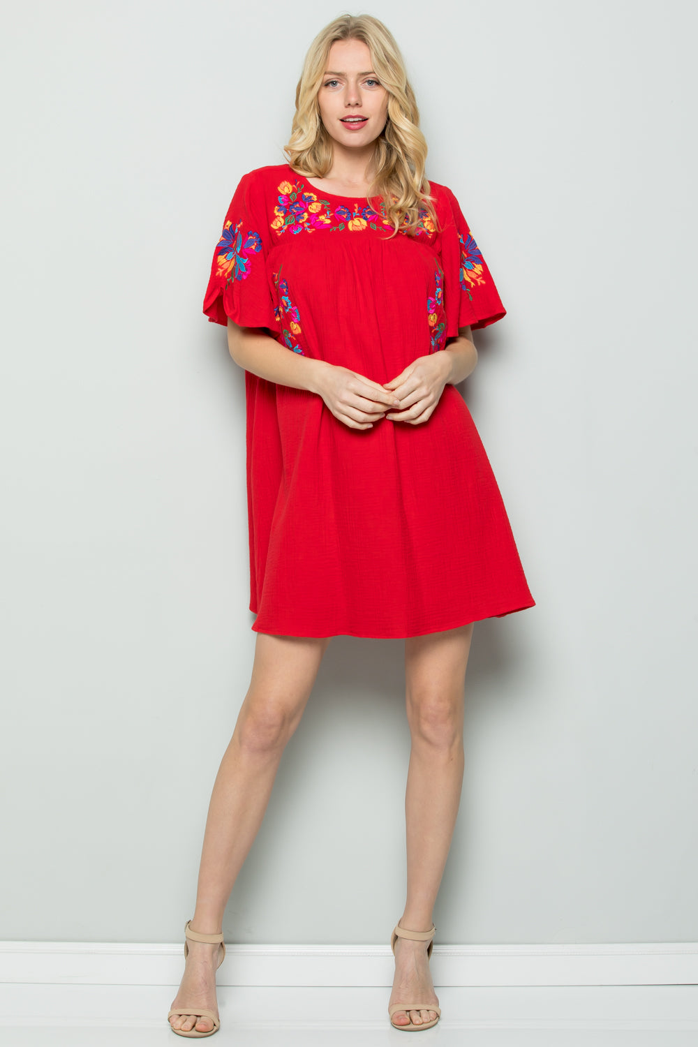 D5065 Embroidery Dress - Red