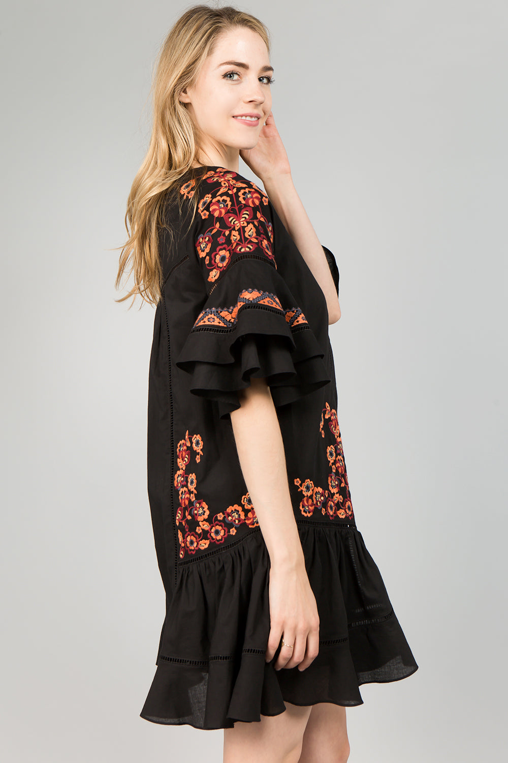 D5080 Floral Embroidery Dress