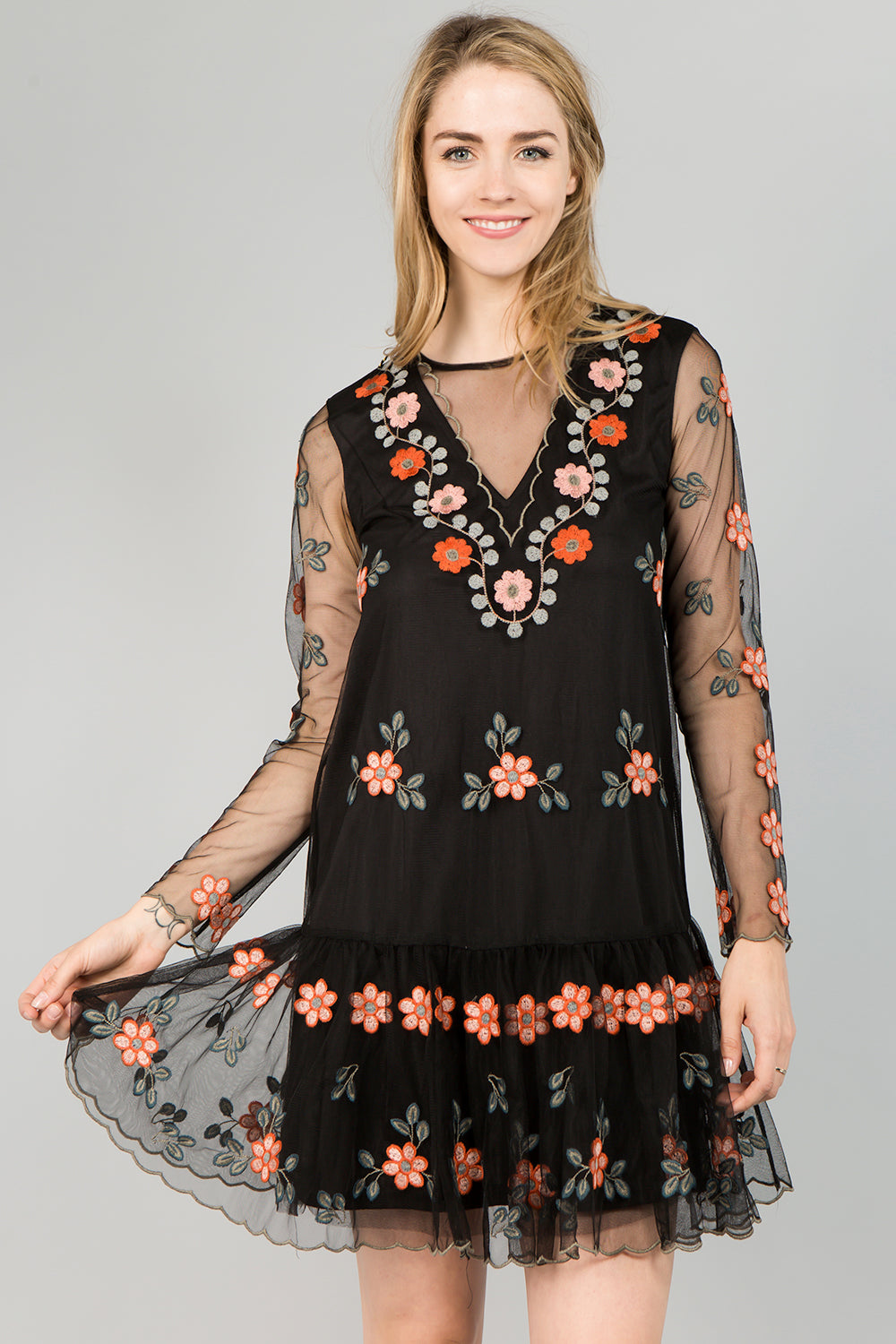 D5081 Floral Embroidery Dress