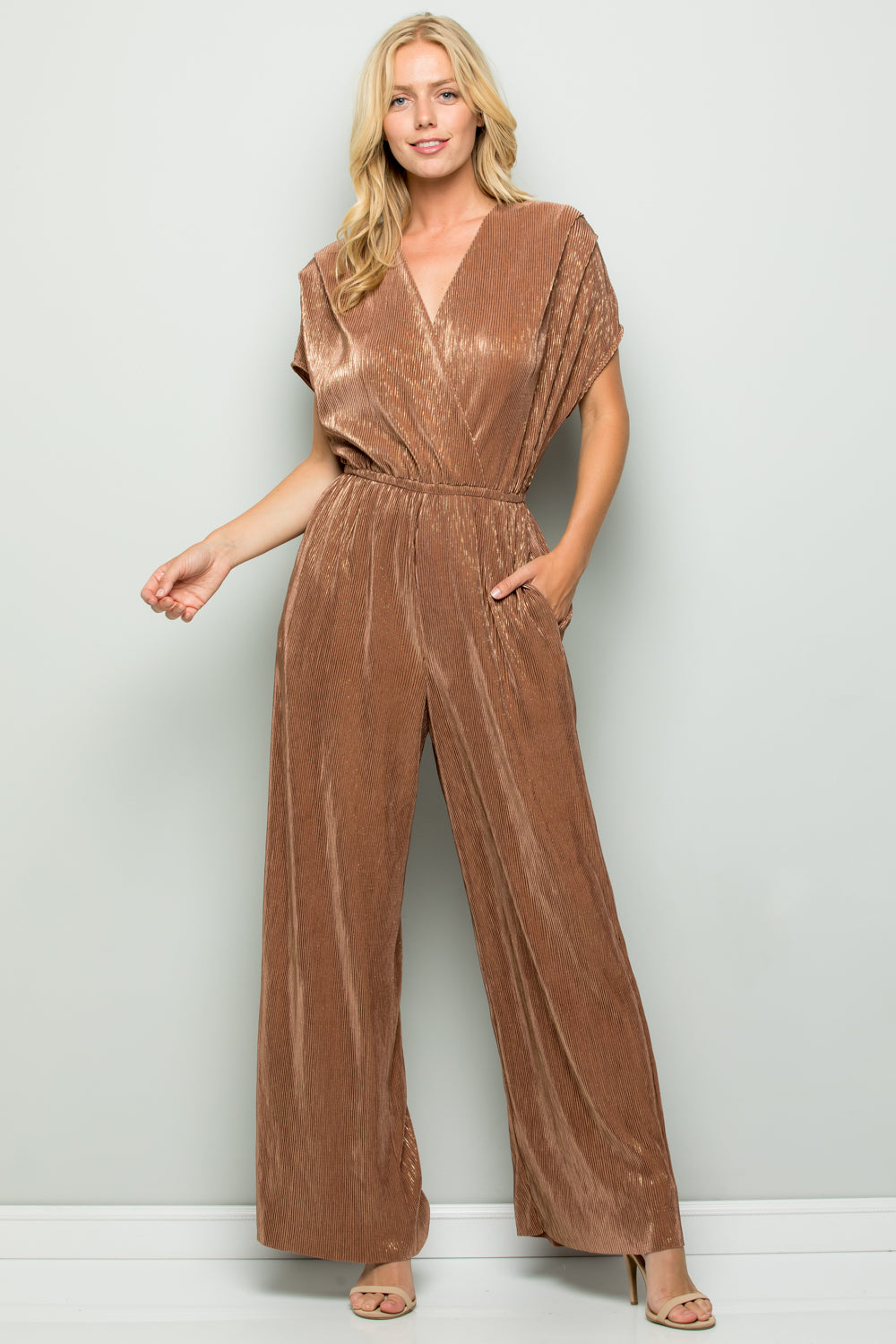D5111 Metallic Pleats Jumpsuit - BRONZE/GOLD