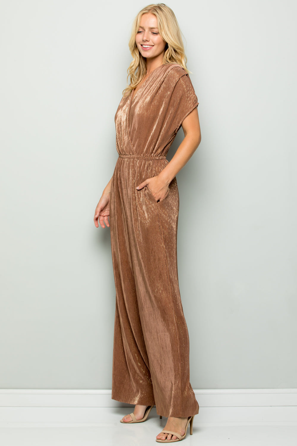D5111 Metallic Pleats Jumpsuit - Gold