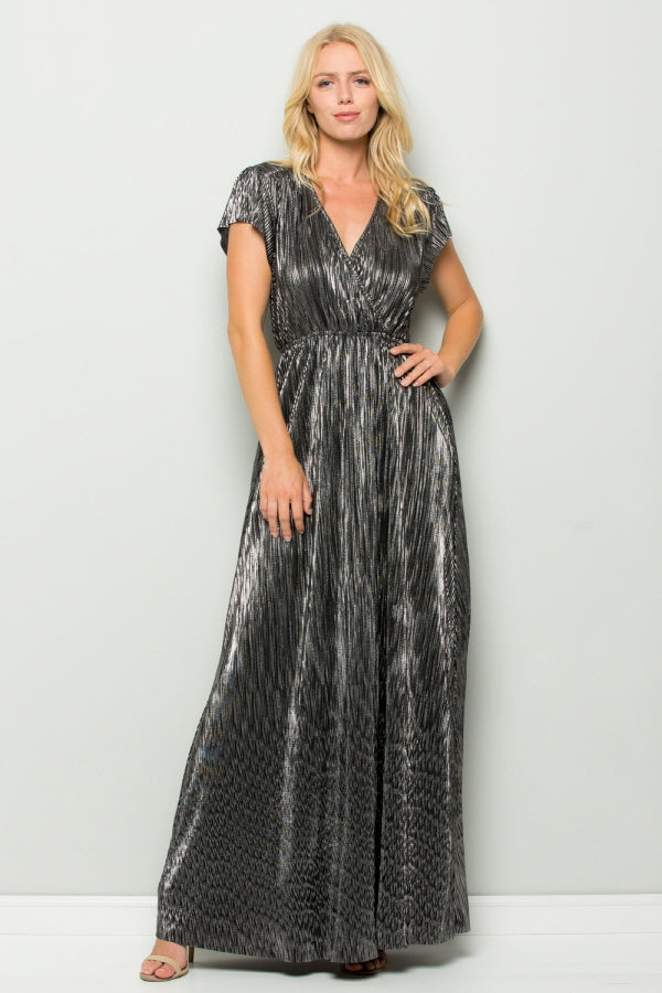 D5112 Metallic Pleats Maxi Dress - PINK/GOLD