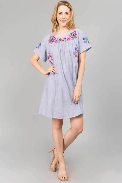 D5119 Floral Embroidery Dress - Blue