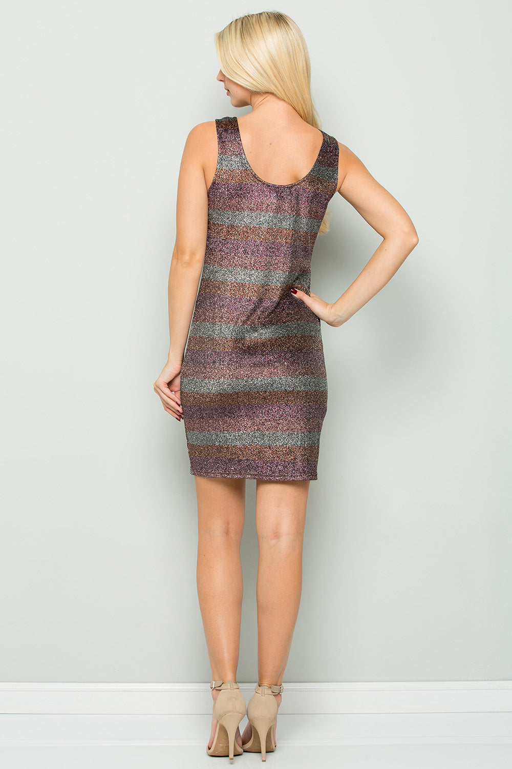 D5126 Striped Bodycon Dress