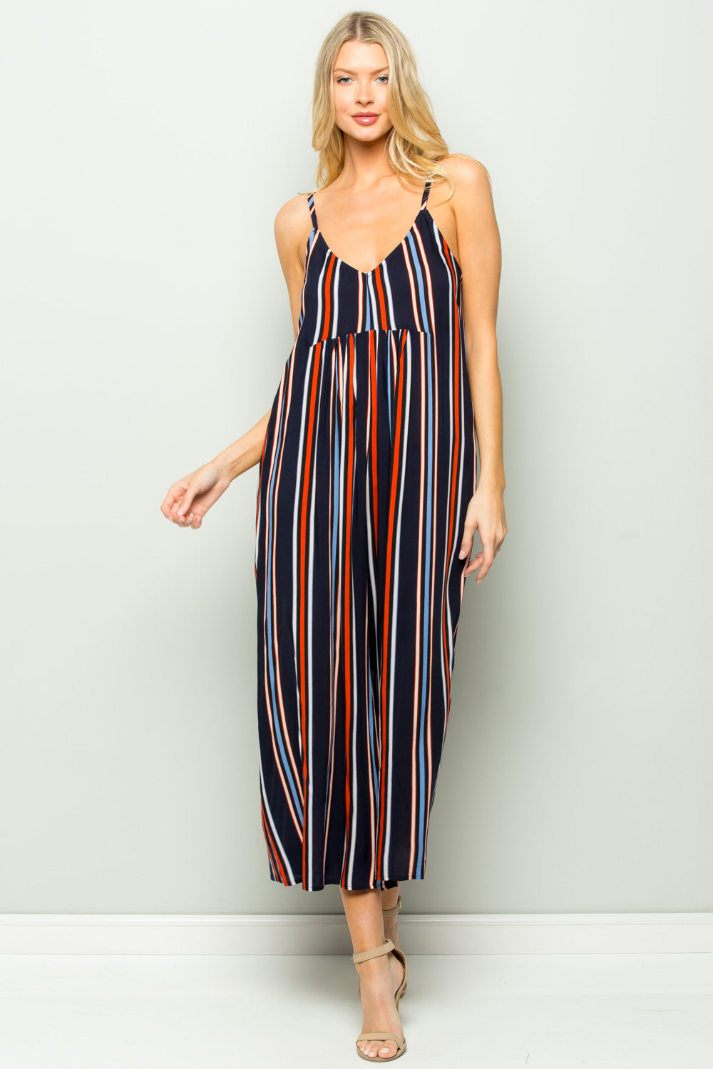 D5155 Multi Color Striped Jumpsuit