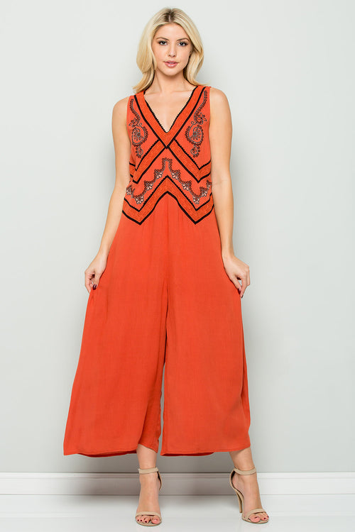 D5171 Boho Embroidery Jumpsuit