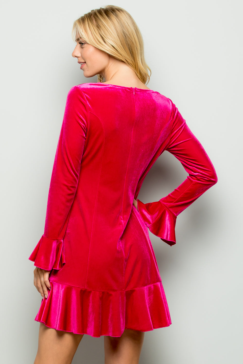 D5175 Velvet Dress - FUCHSIA