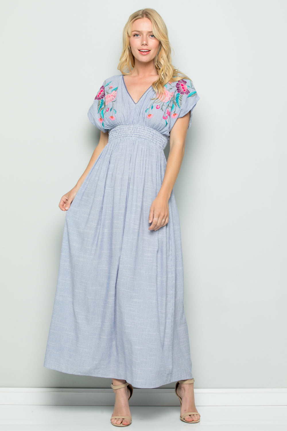 D5181 Floral Embroidery Stripe Maxi Dress - BLACK