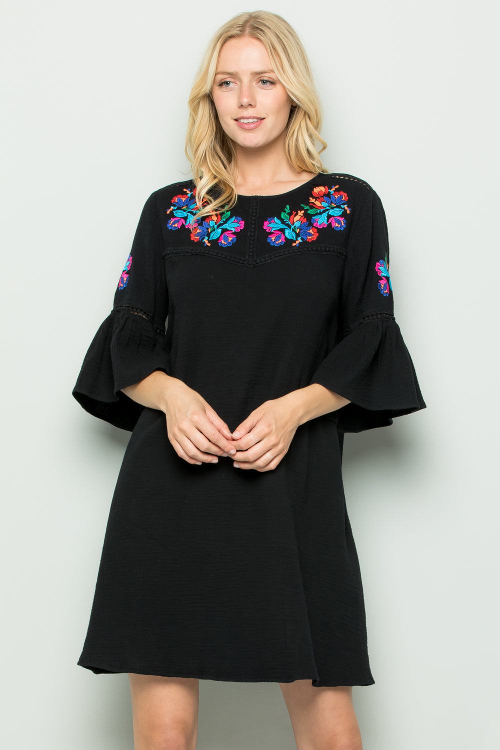 D5257 Embroidery Trimed Dress - Black