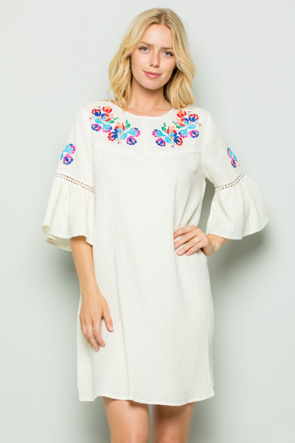 D5257 Embroidery Trimed Dress - Cream