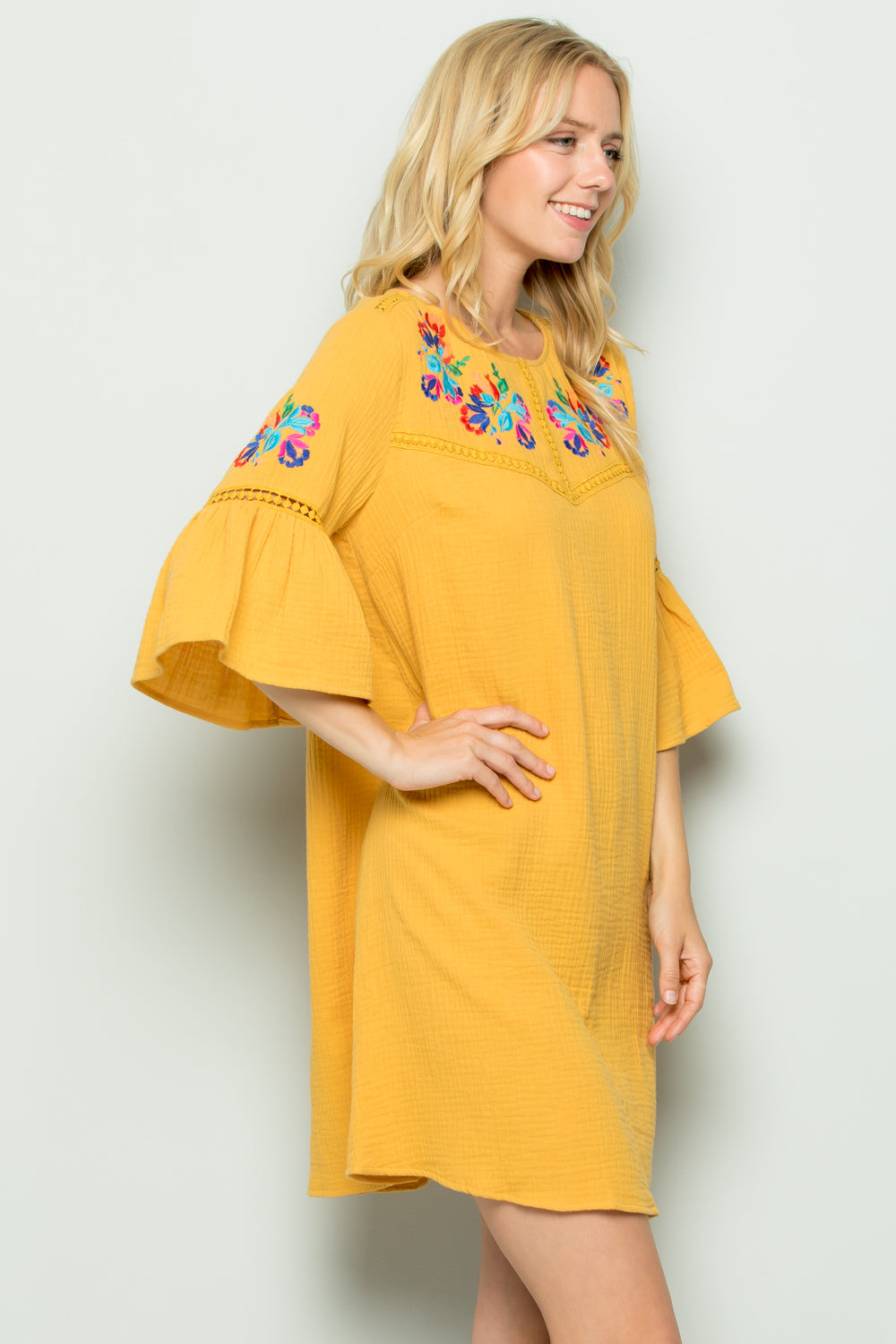 D5257 Embroidery Trimed Dress - Yellow