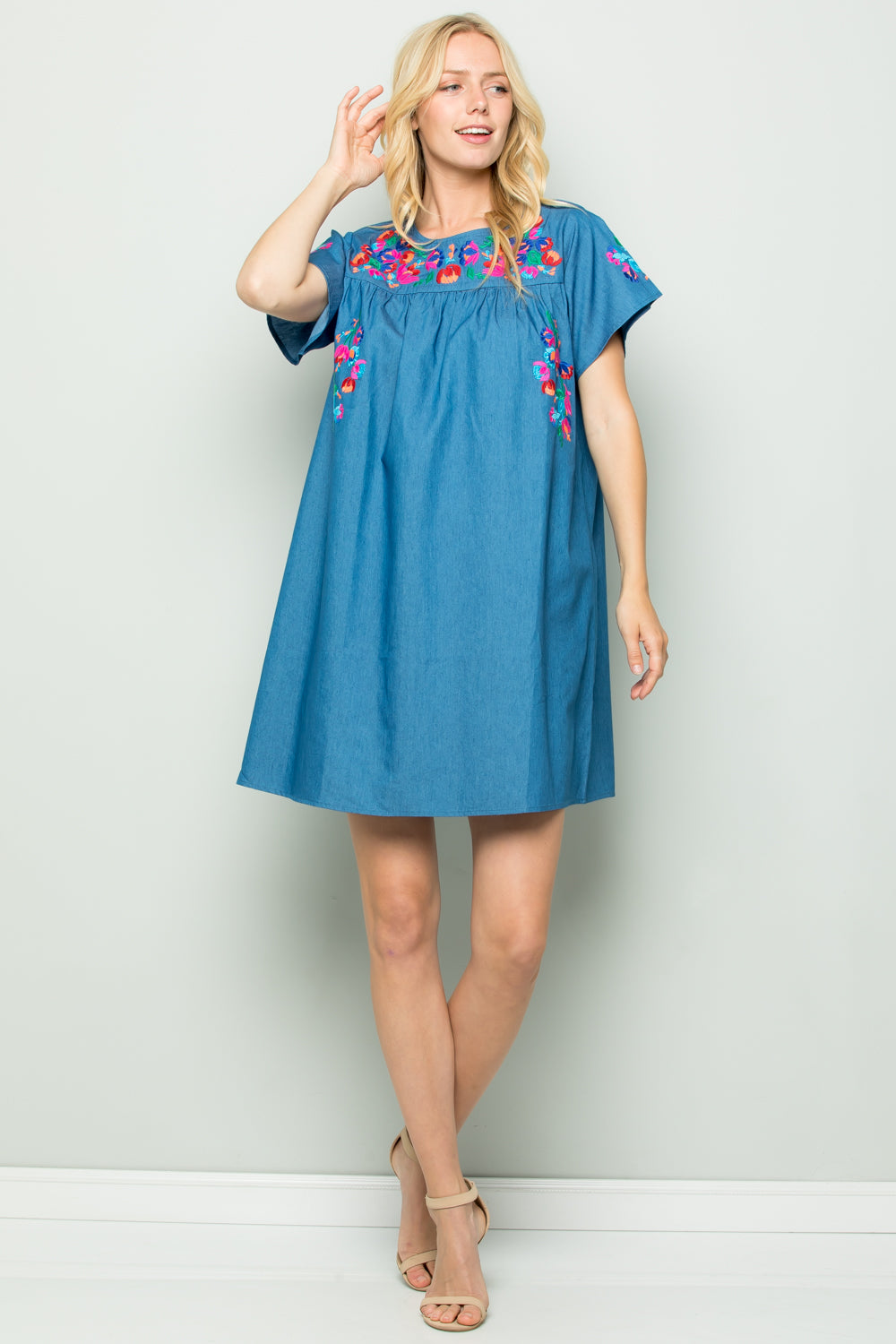 D5263 Floral Embroidery Chambray Dress