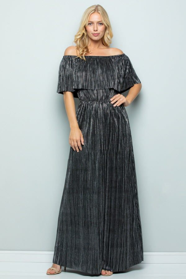 D5277 Off Shoulder Maxi Dress - GOLD