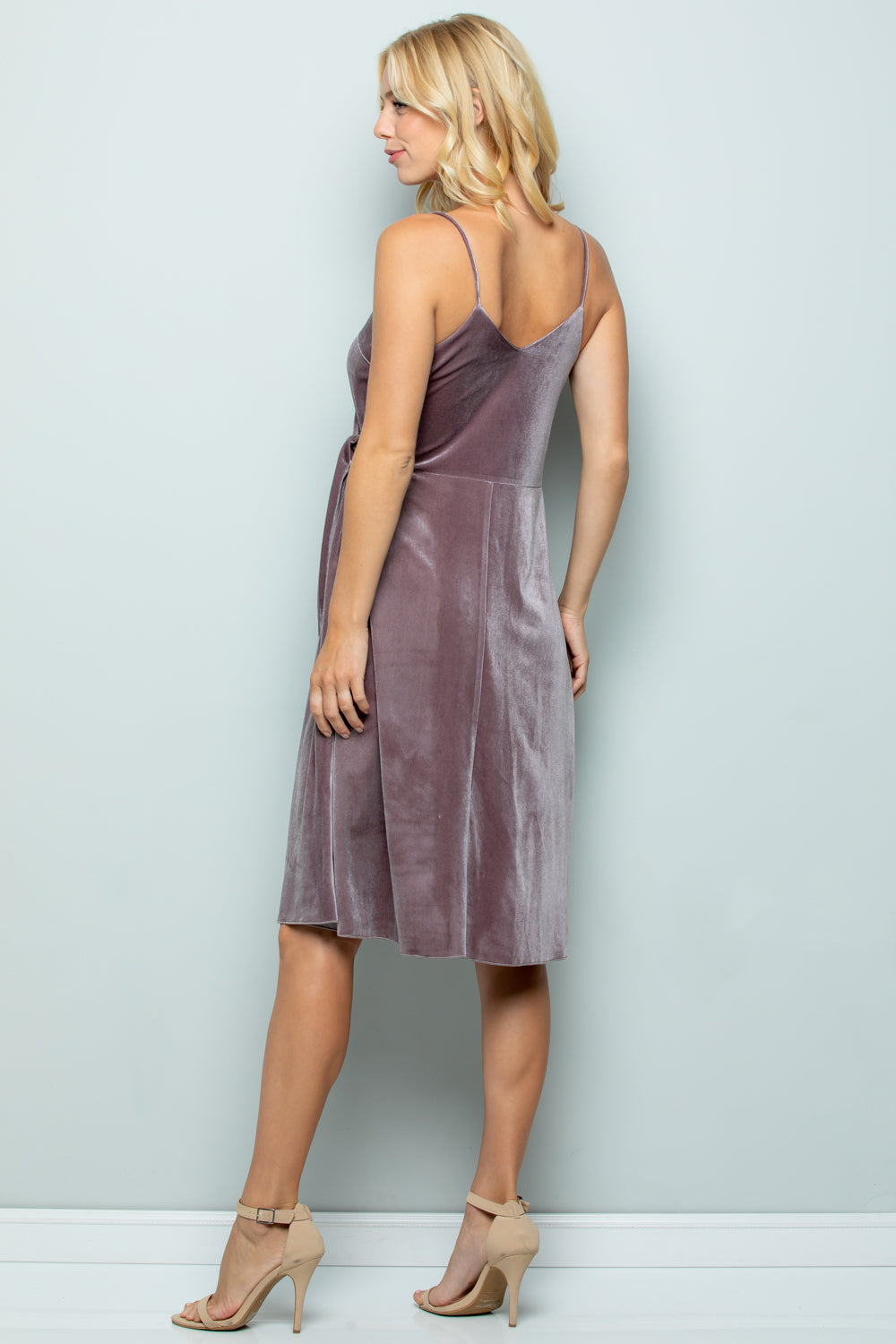 D5281 Strap Velvet Dress - PURPLE