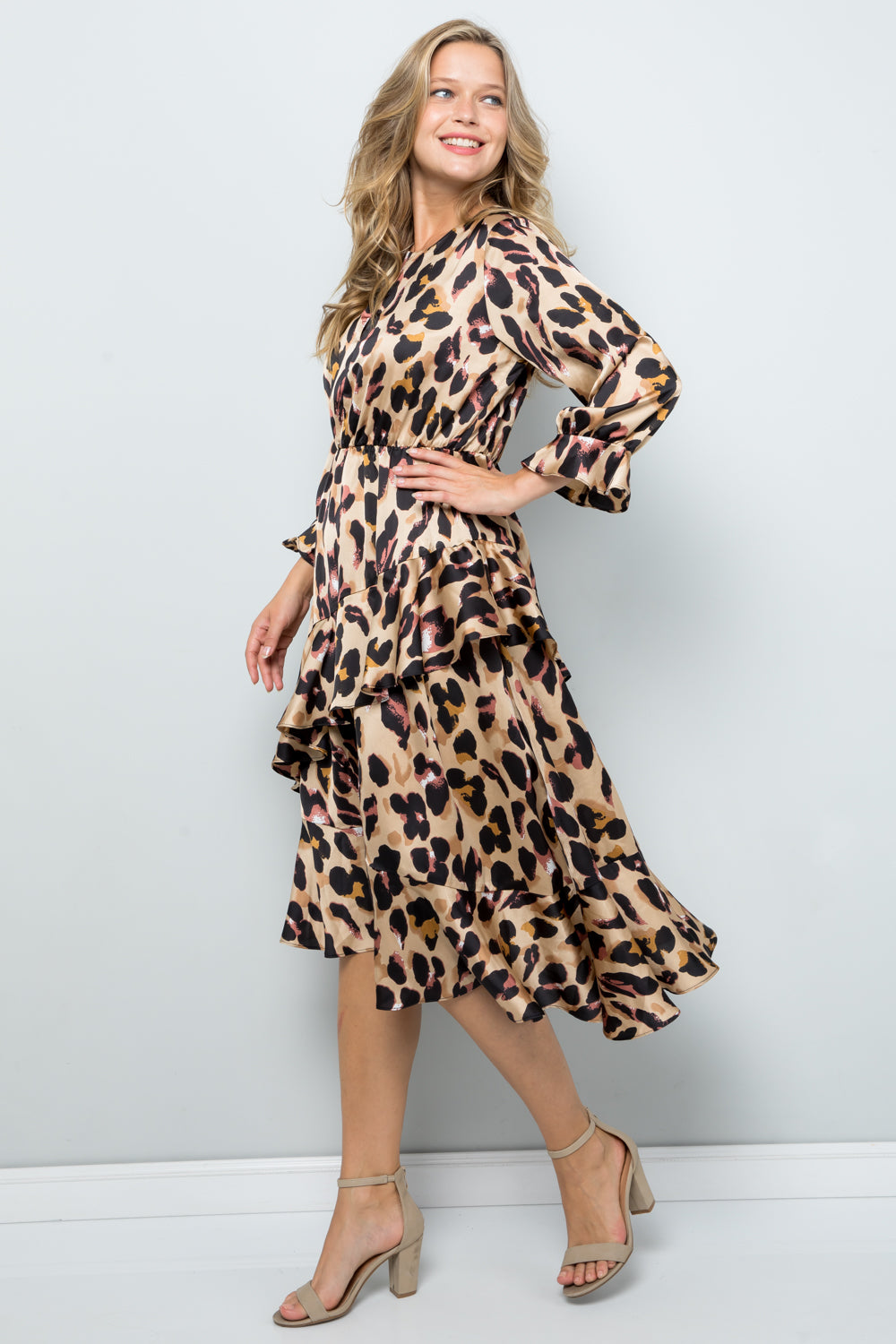 D5286 Asymmetric Ruffle Detail Print Dress - Brown