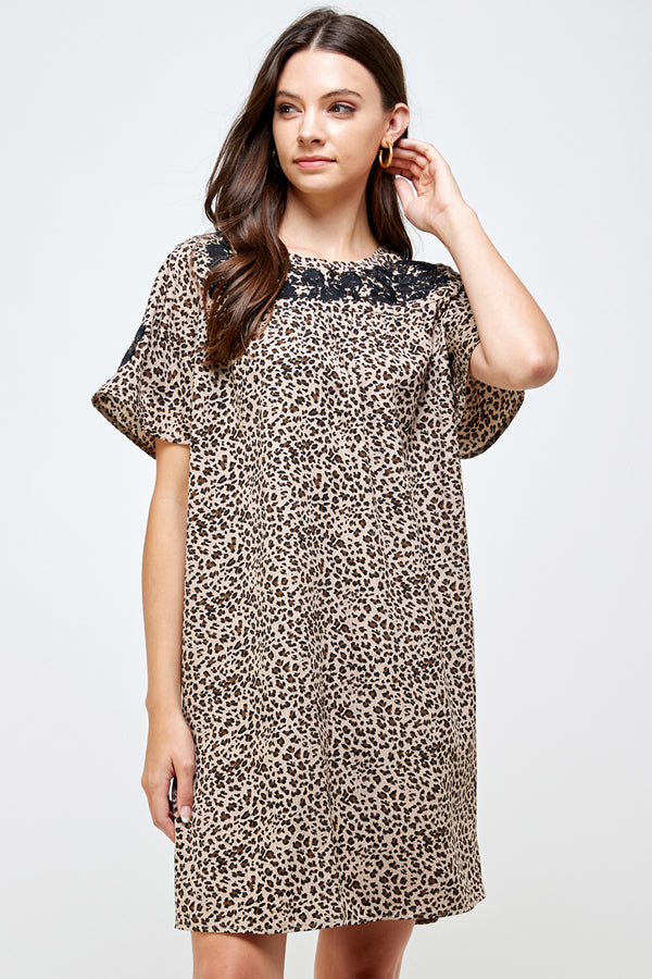 D5326 Embroidery Animal Print Dress - Taupe