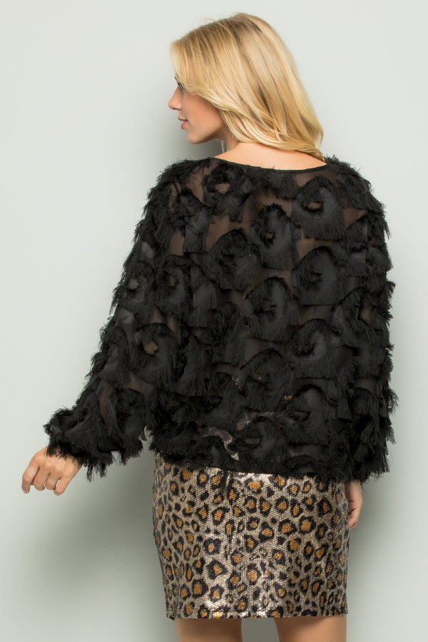 T2738 Eyelash Fringe Detail Top - Black