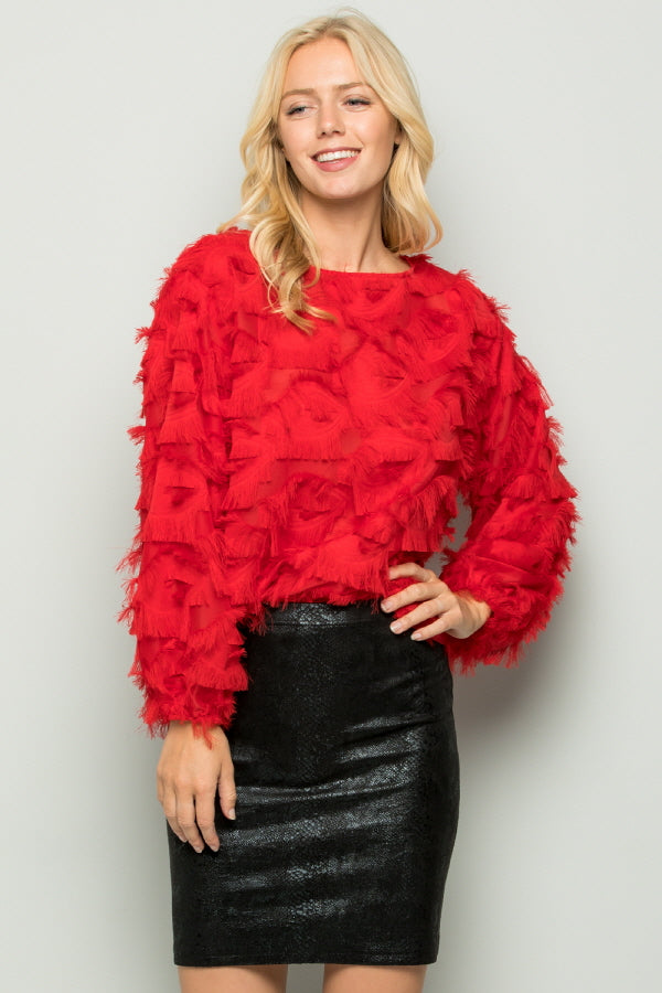 T2738 Eyelash Fringe Detail Top - Red