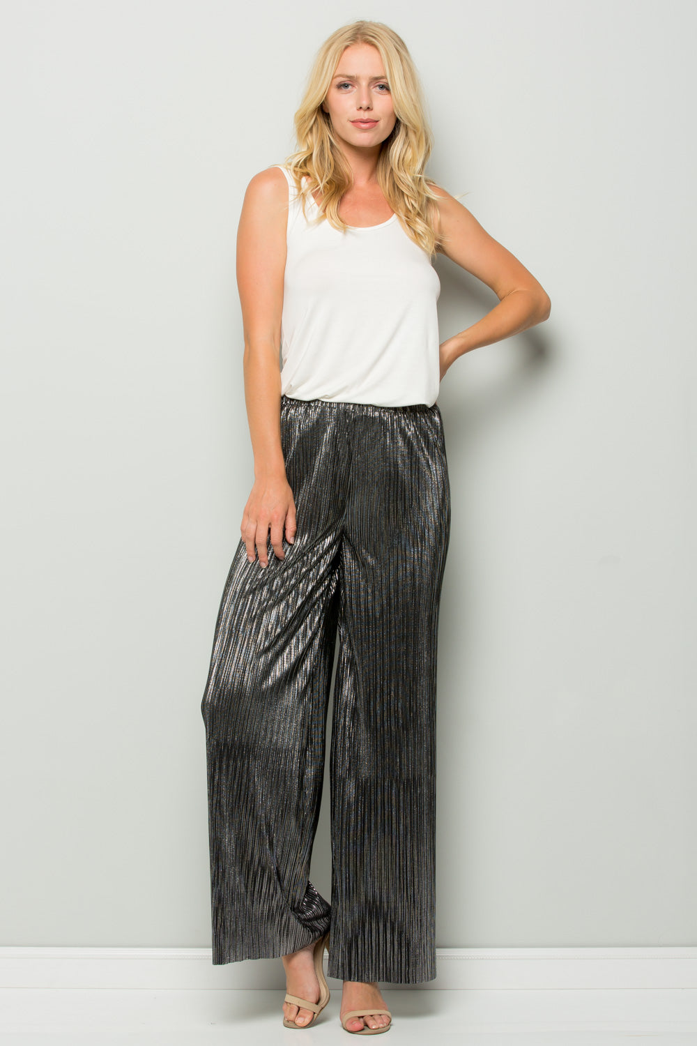 P7014 Metallic Wide Pants - Gold