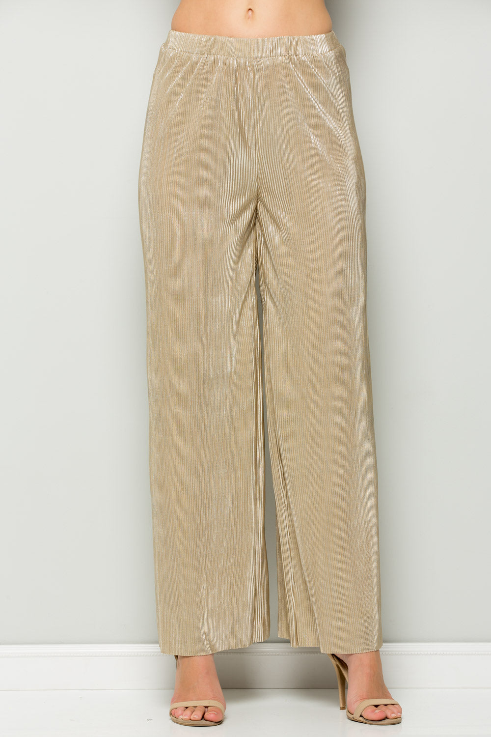 P7014 Metallic Wide Pants - GOLD/BRONZE