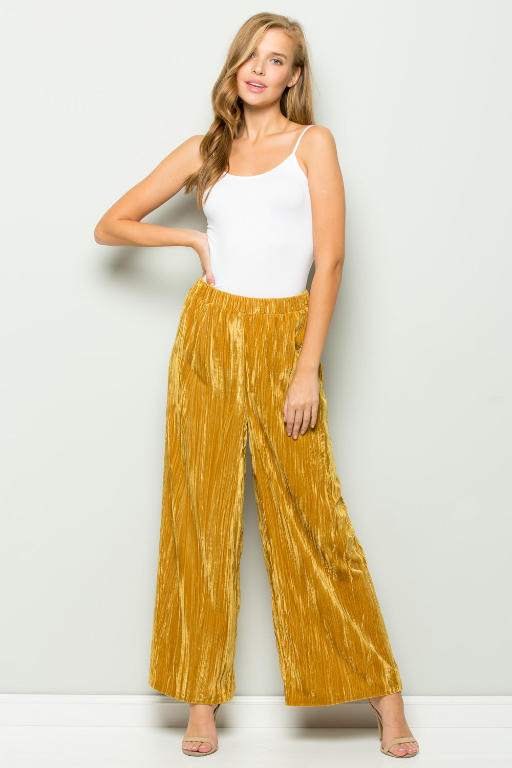 P7021 Crushed Velvet Wide Pants