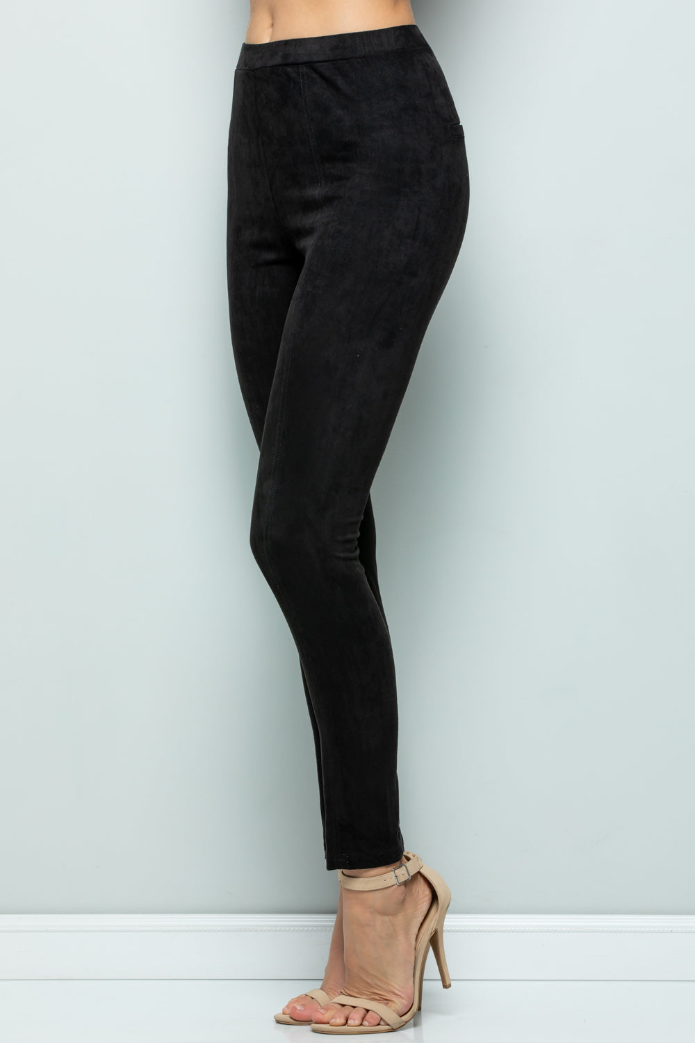 P7031 Super Stretch Suede Pants - Charcoal