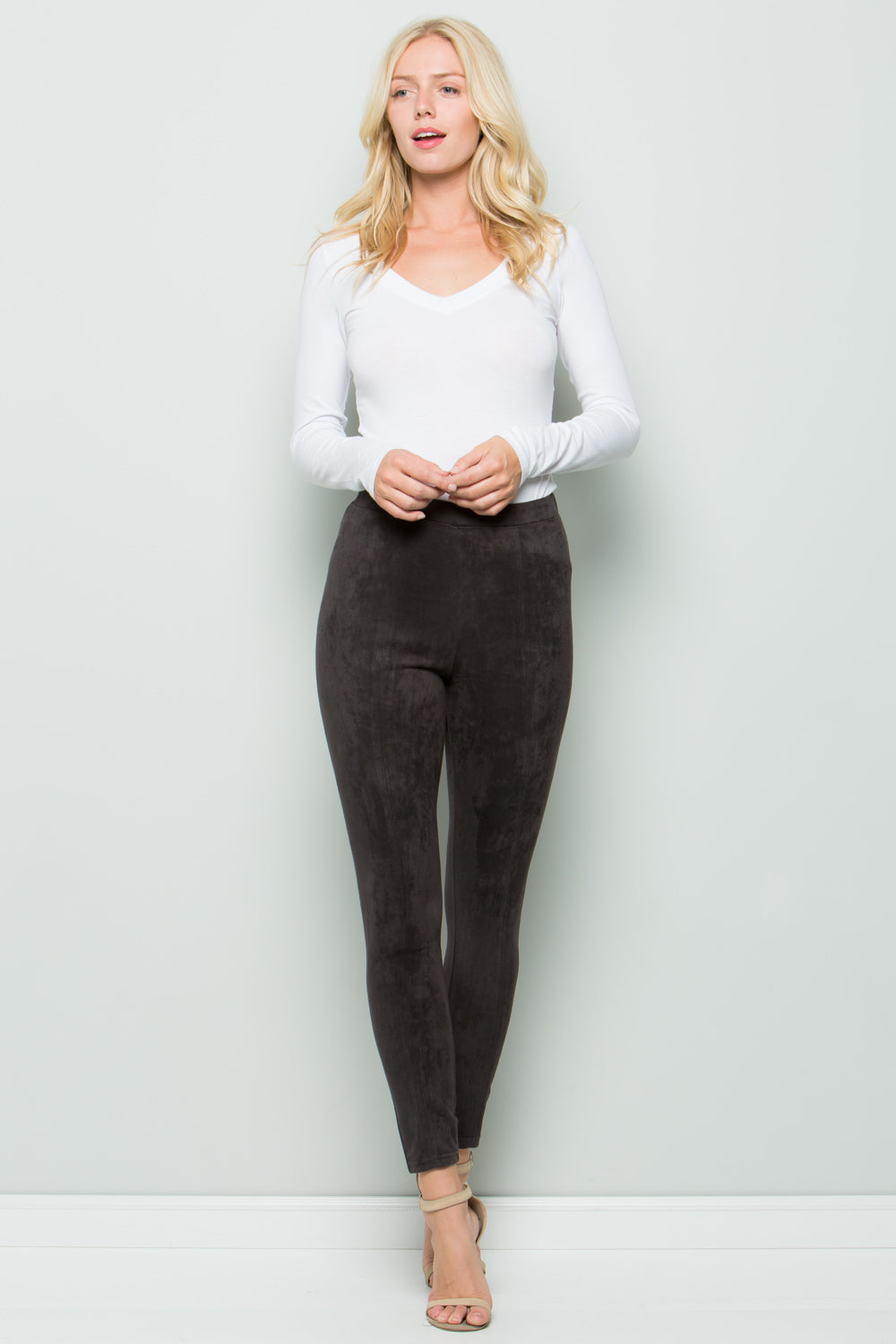 P7031 Super Stretch Suede Pants - Taupe