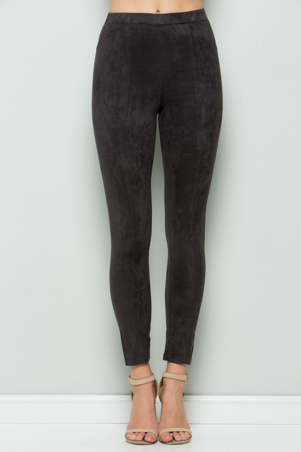 P7031 Super Stretch Suede Pants - BLACK